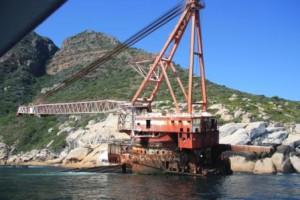 Shipwreck Bos 400, shipwrecked in July 1994 at Maori Bay