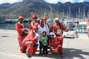 Hout Bay minstrels pose with visitors