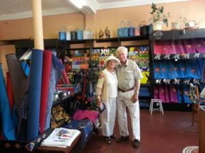 Joan and John Olivier visiting Mnandi Textiles and Design, Observatory