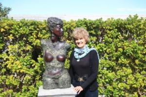 Jean Doyle in her sculpture garden, Wynberg
